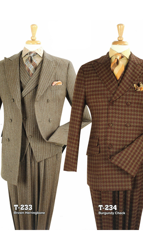 Iconic T-233 ( 3pc High Fashion Suits With Vest And Semi-Wide Leg Pants, Super 150's )