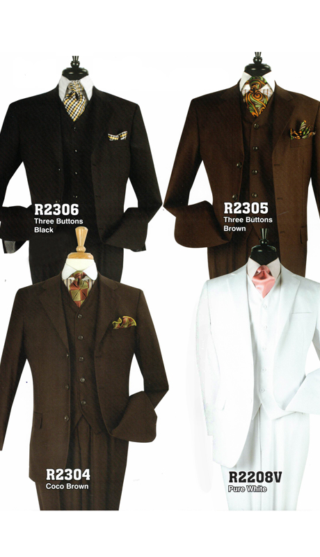Iconic R2306 ( 3pc Business Suit With Vest, Side Vents And Double Pleated Pants, Super 130's )