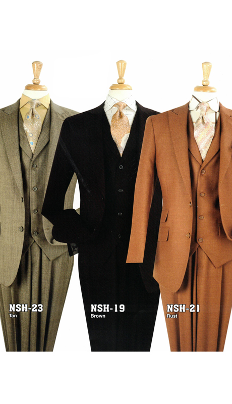 Iconic NSH-23 ( 3pc High Fashion Suit With Vest And Semi-Wide Leg Pants, Super 150's )