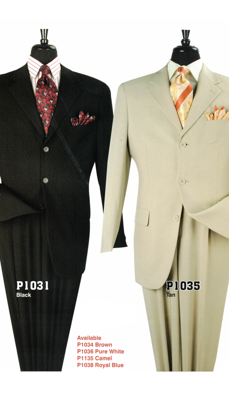 Iconic P1031 ( 2pc Mens Suit With 3 Buttons, Side Vents And Single Pleated Pants )
