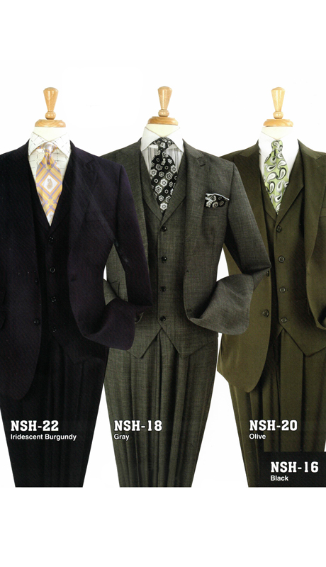 Iconic NSH-22 ( 3pc High Fashion Suit With Full Fabric Vest And Semi Wide Leg Pants, Super 150's )