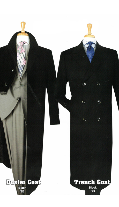 Iconic SB-BLK ( 1pc Gaberdine Duster And Trench Coats )