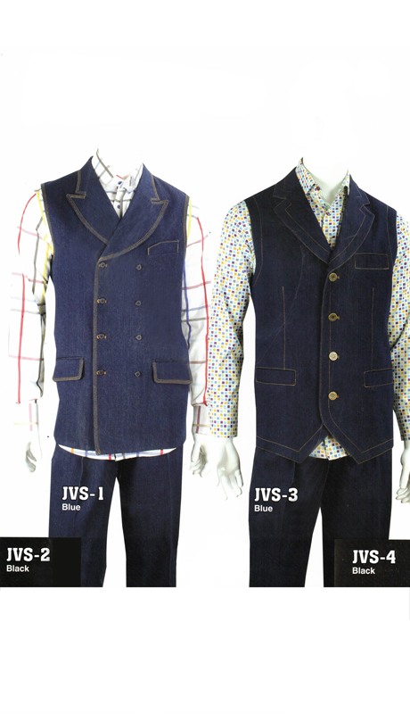 Iconic JVS-1 ( 2pc 100% Cotton High Fashion Denim Vest Set With Semi-Wide Leg Pants )