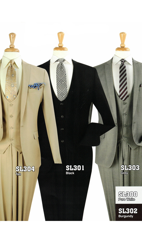 Iconic SL304 ( 3pc Luxury One Button Mens Suit, Super 130's )
