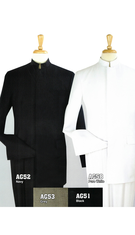 Iconic AG52 ( Clergy Suit With Hidden Buttons Semi Wide Leg Pants  )