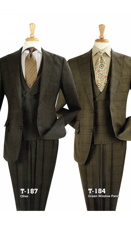 Iconic T-187 ( 3pc High Fashion Suits With Vest And Pleated Pants, Super 150's )