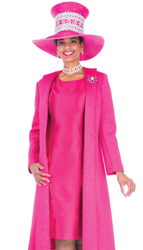 Aussie Austine 5107-FU ( 2pc Brocade With Satin Long Ladies Sunday Coat With Dress And Brooch )