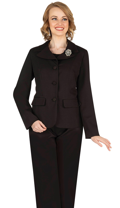 Aussie Austine 835-BK ( 4pc Gabardine Ladies Wardrober Set Includes Jacket, Cami, Skirt And Pants )