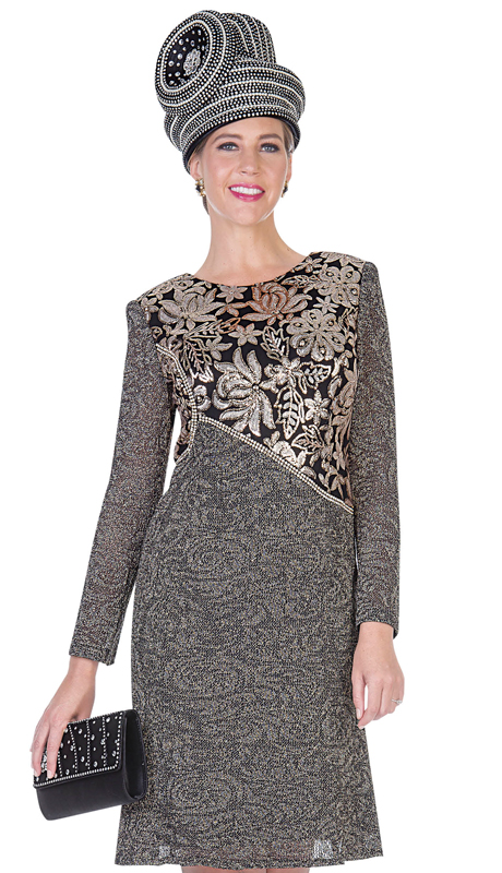 Aussie Austine 5055-GO ( 1pc Exclusive Knit Womens Dress For Church )