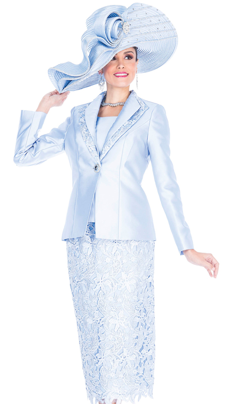 Aussie Austine 5204-CB  ( 3pc Satin And Lace Womens Church Suit With Rhinestone Clasp )