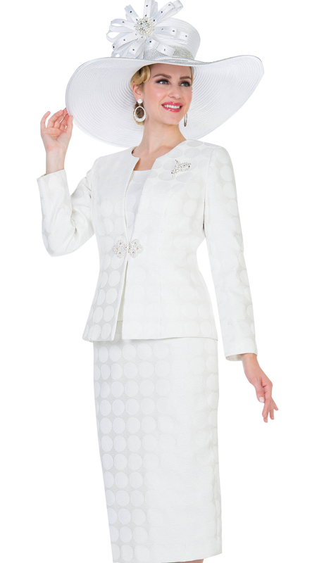Aussie Austine 5113-OW  ( 3pc Novelty Brocade Womens Church Suit )