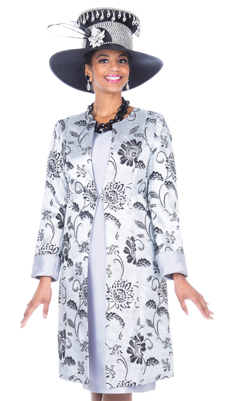 Aussie Austine 5118-SI ( 2pc Brocade With Satin Womens Long Jacket And Sunday Dress )
