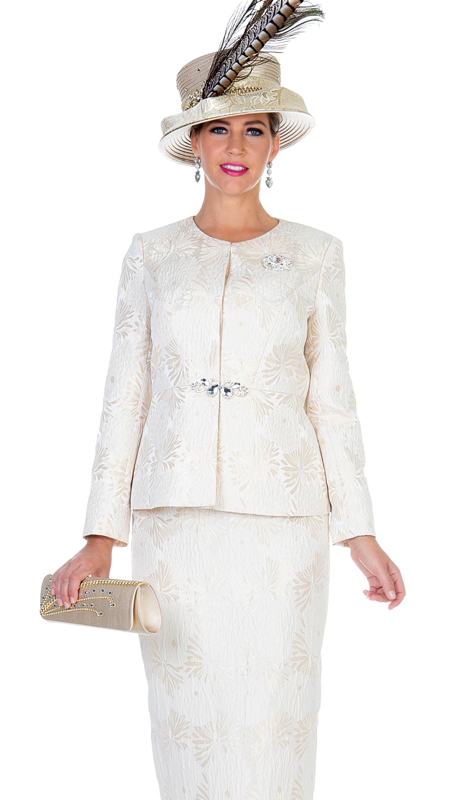 Aussie Austine 5110-MG  ( 2pc Novelty Brocade Womens Church Suit With Brooch )