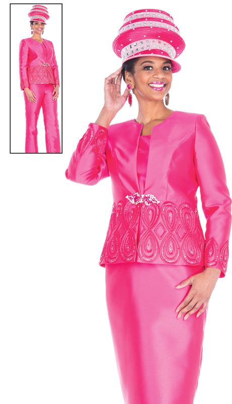Aussie Austine 5104-FU ( 4pc Satin Ladies Wardrober Set Includes Jacket, Cami, Skirt And Pants )