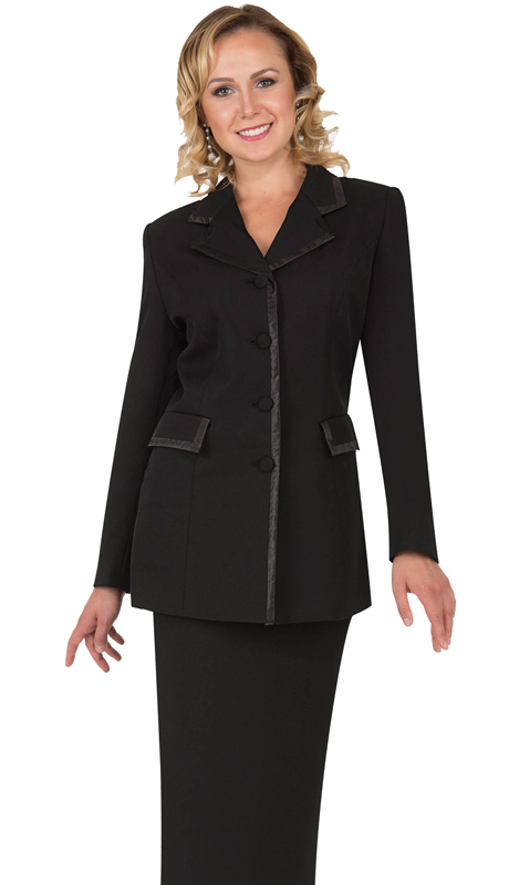 Aussie Austine Church And Choir Uniform 11809-BK ( 2pc Renova Jacket And Skirt Womens Suit )