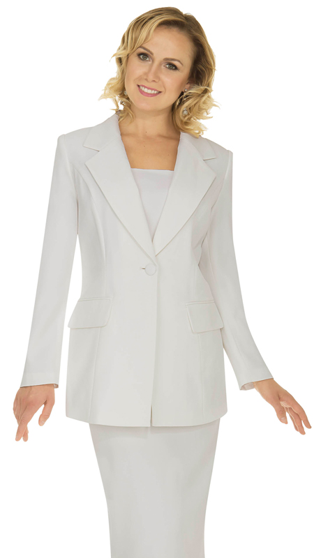 Aussie Austine Church And Choir Uniform 12441-WH ( 2pc Renova Jacket And Skirt Womens Suit )
