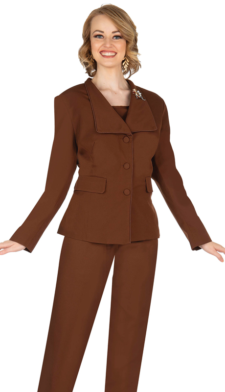 Aussie Austine 840-BR ( 4pc Gabardine Ladies Wardrober Set Includes Jacket, Cami, Skirt And Pants )