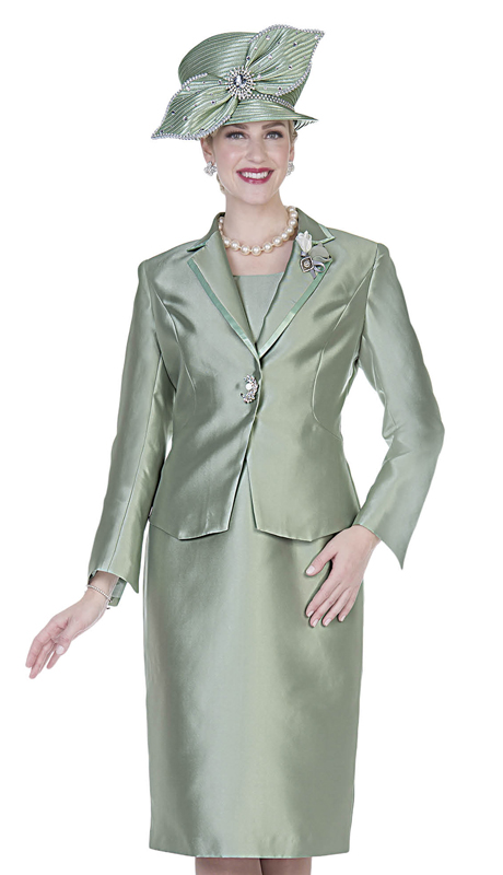 Aussie Austine 5127-OL ( 2pc Satin Womens Church Suit )