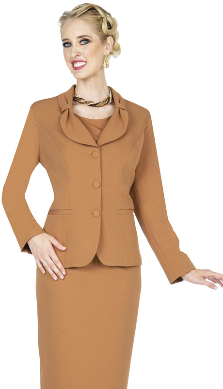 Aussie Austine 836-KH ( 4pc Gabardine Ladies Wardrober Set Includes Jacket, Cami, Skirt And Pants )