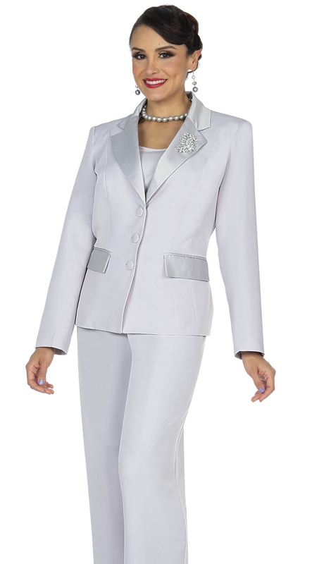Aussie Austine 834-SG ( 4pc Gabardine Ladies Wardrober Set Includes Jacket, Cami, Skirt And Pants )