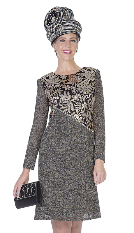 Aussie Austine 5055-GO ( 1pc Exclusive Knit Womens Dress For Church )