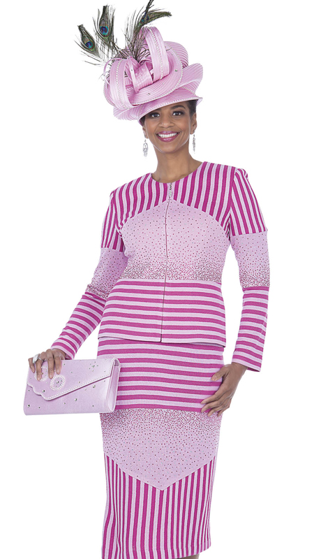 Aussie Austine 5061-PF ( 2pc Exclusive Knit Ladies Church Suit )