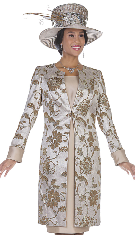 Aussie Austine 5118-GO ( 2pc Brocade With Satin Womens Long Jacket And Sunday Dress )