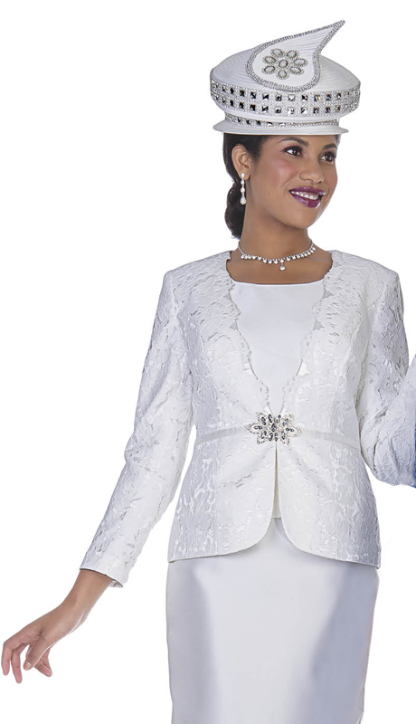 Aussie Austine 5014-OW ( 2pc Satin And Lace Ladies Church Suit )