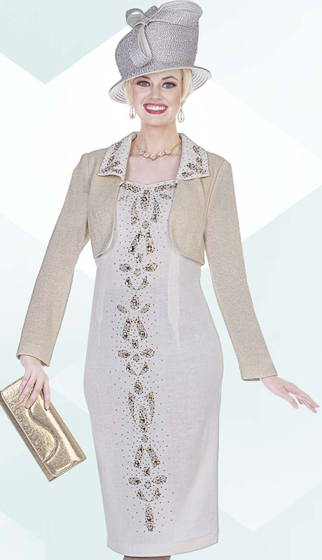 Aussie Austine 4963 ( 2pc Exclusive Knit Church Dress With Bolero Jacket And Multi-Sized Rhinestone Patterned Dress )