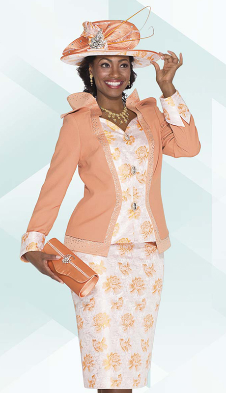 Aussie Austine 4759 ( 2pc Exclusive Brocade Ladies Church Suit With Rose Print And Sweetheart Jacket With Skirt )