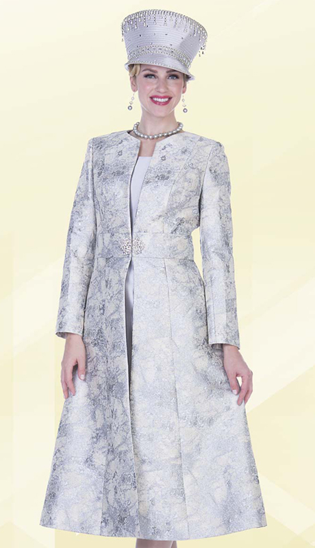 Aussie Austine 5109 ( 2pc Metallic Embossed Brocade Womens Sunday Long Coat Dress With Marbled Pattern )
