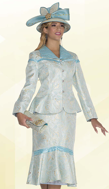Aussie Austine 4809 ( 2pc Exclusive Metallic Brocade Womens Church Suit With Ornate Floral Pattern, Rhinestone Trim Jacket And Trumpet Skirt )