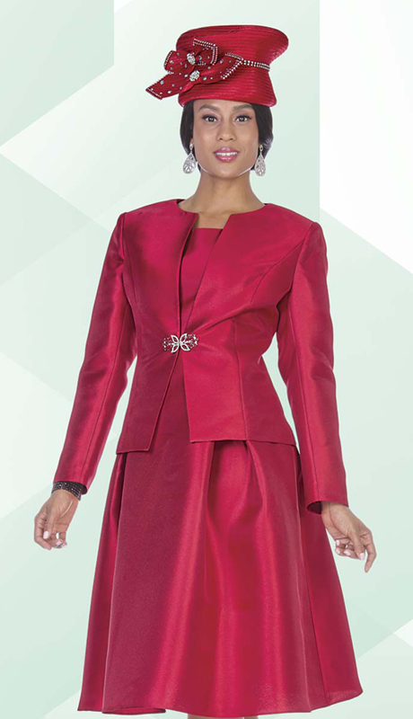 Aussie Austine 5123 ( 2pc Satin Womens Church Jacket Dress With Pleated Waist And Rhinestone Clasp )