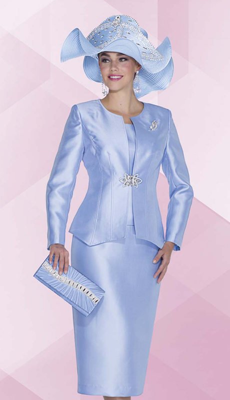 Aussie Austine 5022 ( 3pc Satin Womens Church Suit With Rhinestone Brooch, Jacket, Cami And Skirt )