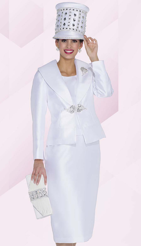 Aussie Austine 5012 ( 3pc Satin Ladies Church Suit With Jacket, Vest Skirt And Filigree Rhinestone Clasp With Brooch )