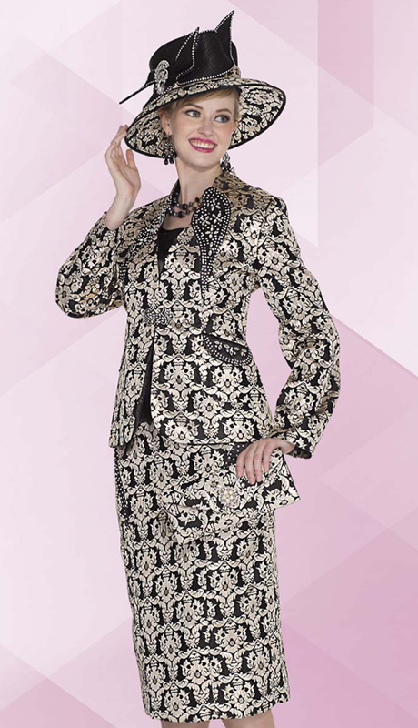 Aussie Austine 4807 ( 3pc Novelty Brocade Womens Church Suit With Damask Pattern And Rhinestone Embellished Jacket, Skirt And Solid Cami )