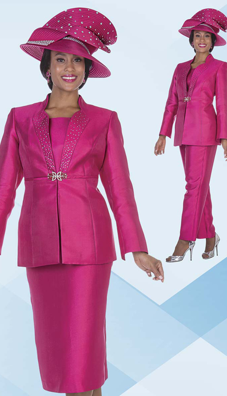 Aussie Austine 5125 ( 4pc Satin Womens Jacket, Vest, Skirt And Pant Set With Rhinestone Details )