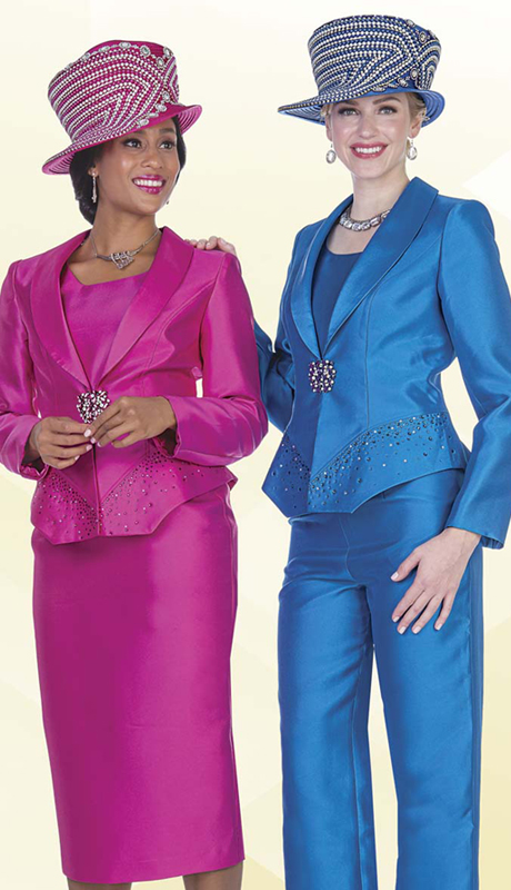 Aussie Austine 5101 ( 4pc Satin Womens Wardrobe Set With Rhinestone Embellished Jacket, Vest, Skirt And Pant )