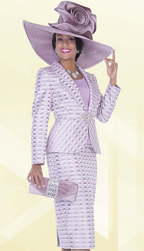 Aussie Austine 5010 ( 3pc Novelty Brocade Womens Church Suit With Tonal Triangle Pattern Jacket, Cami And Skirt )