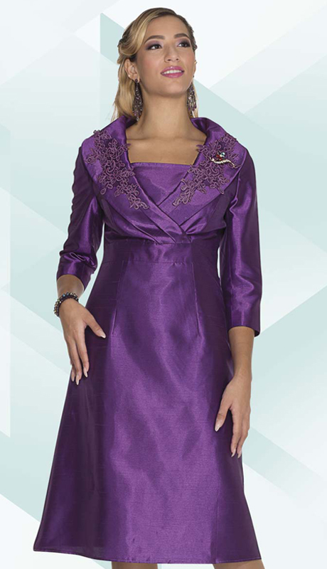Aussie Austine 1030 ( 1pc Satin Ladies Church Dress With Lace Applique On Collar )