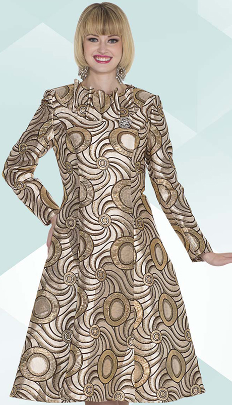 Aussie Austine 1027 ( 1pc Exclusive Brocade Ladies Church Dress With Ruffle Collar And Swirl Pattern )