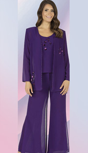 Christie By Aussie Austine 638  ( 3pc Georgette Womens Church Suit With Sequin And Embroidered Flower Design On Jacket With Cami And Pant )