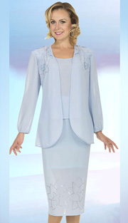Christie By Aussie Austine 671-BLU ( 3pc Georgette Ladies Church Suit With Embroidery, Rhinestone And Fabric Applique Flowers On Jacket With Cami And Skirt )