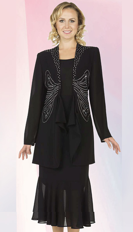 Christie By Aussie Austine 672-BLK ( 3pc Georgette Womens Church Suit With Rhinetsone Butterfly Design And Cascading Ruffle Jacket With Cami And Skirt )