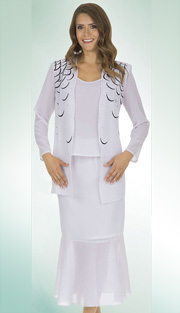Christie By Aussie Austine 663 ( 3pc Georgette Ladies Church Suit With Rhinestone Embellished  Jacket With Cami And Skirt )