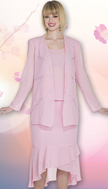Christie By Aussie Austine 669 ( 3pc Georgette Ladies Suit With Rhinestone Embellished Jacket, Cami And Ruffled Skirt )