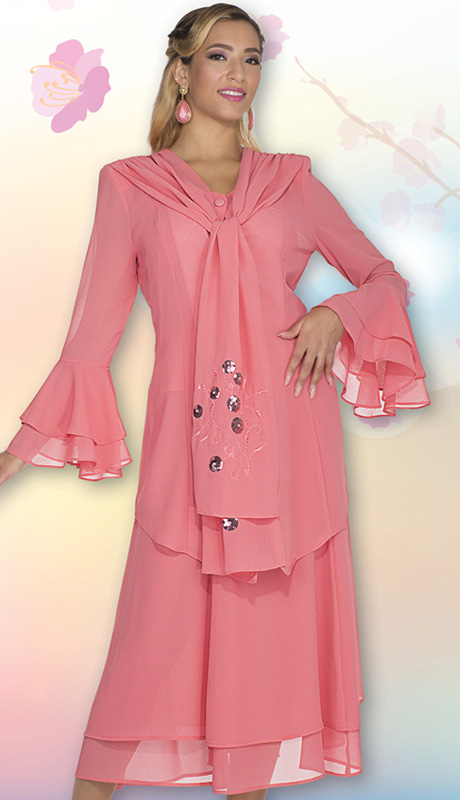 Christie By Aussie Austine 640 ( 3pc Georgette Womens Church Suit With Sequin And Embroidered Flower Design, Layered Flounce Sleeves And Scarf Front On Jacket With Cami And Skirt )