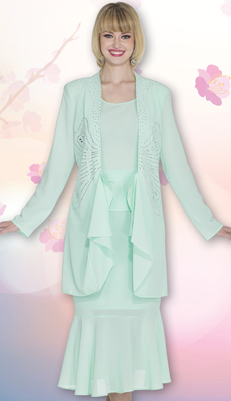 Christie By Aussie Austine 672-MI ( 3pc Georgette Womens Church Suit With Rhinetsone Butterfly Design And Cascading Ruffle Jacket With Cami And Skirt )