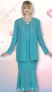 Christie By Aussie Austine 666 ( 3pc Georgette Womens Suit With Embroidered Leaf Pattern And Rhinestone Detail Jacket, Cami And Skirt )