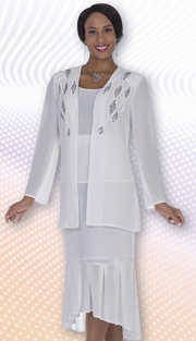 Christie By Aussie Austine 678 ( 3pc Georgette Womens Church Suit With Contrast Rhinestone Embellished Jacket, Cami And Skirt )